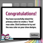 The congratulatory message that appears when students mix colors correctly.